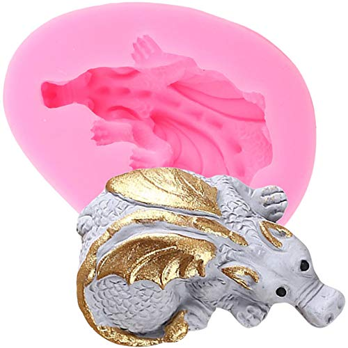 CSCZL 3Pcs Dinosaur Egg Easter Silicone Mold Dragon Candy Clay Chocolate Gumpaste Molds Cupcake Topper Fondant Cake Decorating Tools