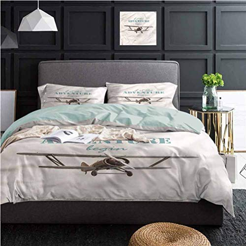 Adventure 3 Piece Duvet Cover Tropical Summer Plane Best Hotel Luxury Bedding | 1 Duvet Cover + 2 Pillow Shams California King Size