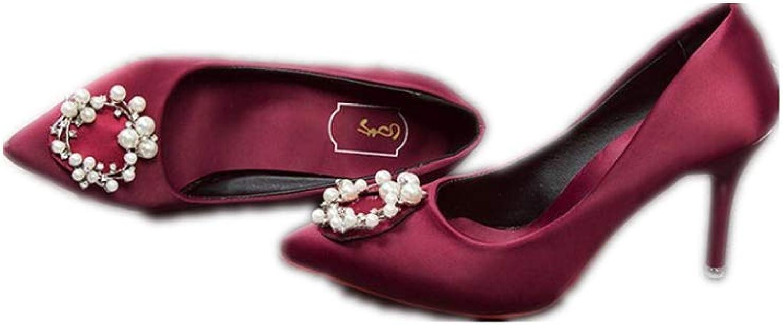 Quality.A Wild Satin Rhinestone Wedding shoes Female Bride shoes high Heel Stiletto shoes