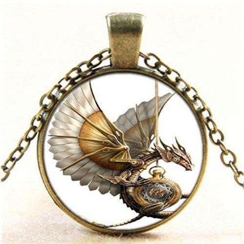 Uteruik Halskette mit Anhänger, Vintage-Stil, Steampunk-Drache, Glas, Cabochon, bronzefarben