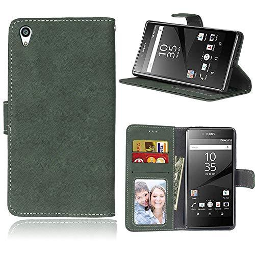 Sangrl Lederhülle Schutzhülle Für Sony Xperia Z5 Premium/Dual / Z5 Plus, PU-Leder Klassisches Design Wallet Handyhülle, Mit Halterungsfunktion Kartenfächer Flip Hülle Grün