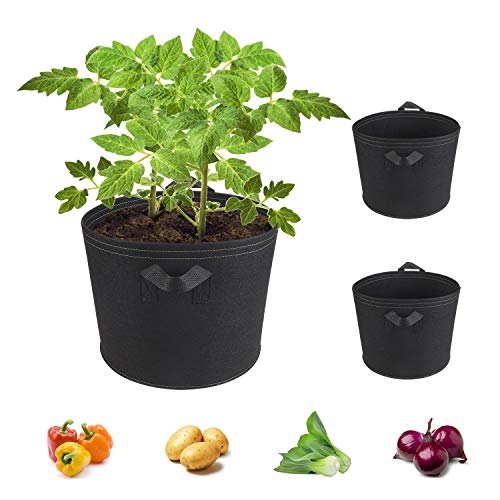 HiinHouse Gardening Plant Grow Bags Thickened 2MM NonWoven Woven Pot Container Reinforced HandleStrong LoadBearing Capacity Can Be Used for All Gardening 7Gallon