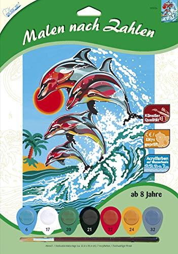 MAMMUT 105034 – malowanie według liczb, motyw zwierzęcy, delfine, kompletny zestaw z drukowanym szablonem w formacie A4, 7 farb akrylowych i pędzli, zestaw do malowania dla dzieci od 8 lat