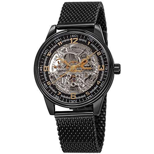 Akribos Automatic Skeleton Mechanical Men's Watch - Luxury Professional Mesh Bracelet See Through Dial - IP Case with A Skeletonized Dial - AK1074BK (Black On Black Band)