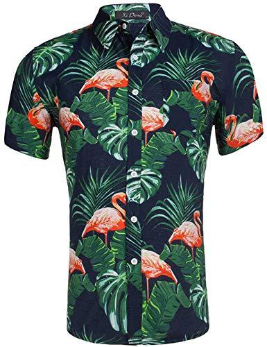 Loveternal Flamingo Shirt Herren Freizeit Slim Fit Hawaiihemd Herren 3D Druck Blumen Hemd Funky Grillparty Kurzarm Hemden XXL