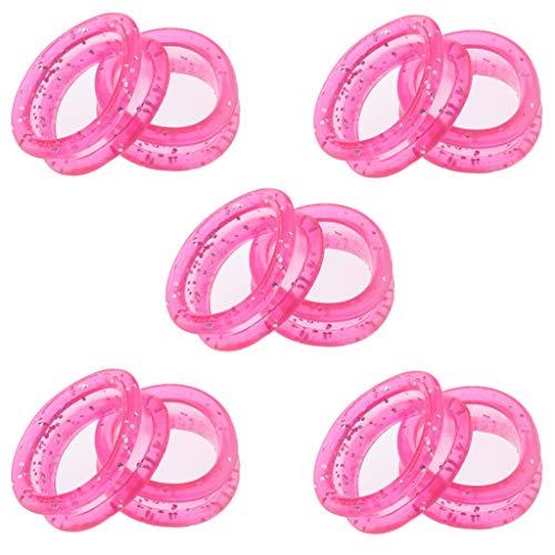 10 Stück Hochwertig Silikon Finger Ring Einsätze für Friseur Schere - Rosa