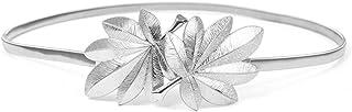 JHD Mujeres Nupcial Cintura Delgada Forma de Hoja de Arce Hebilla de Metal Brillo Color sólido Vestido de Novia elástico C...