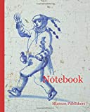 Notebook: Occupation tile, blue with man with stick and bucket, top hat, corner pattern, ox's head