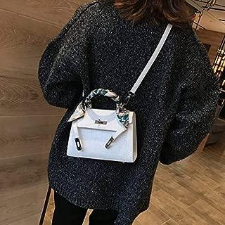 Fashion Single-Shoulder Bags Leisure Fashion PU Leather Slant Shoulder Bag Handbag (Black) (Color : White)