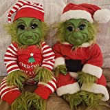 Grinch Doll, Hairy Grinch Baby with Removable Santa Costume Christmas Stuffed Plush Toy Handmade Lifelike Realistic Cartoon Doll Christmas Furry Cute Doll Toy Home Decorations Xmas Gifts for Kids (B)