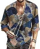 JOK Bloque de Color de los Hombres Rayas Casual Camisa de Manga Larga Botón Top Beach Cuello con Cuello en V Señora Imprimir Camiseta de Yoga, Blue - 5X-Large