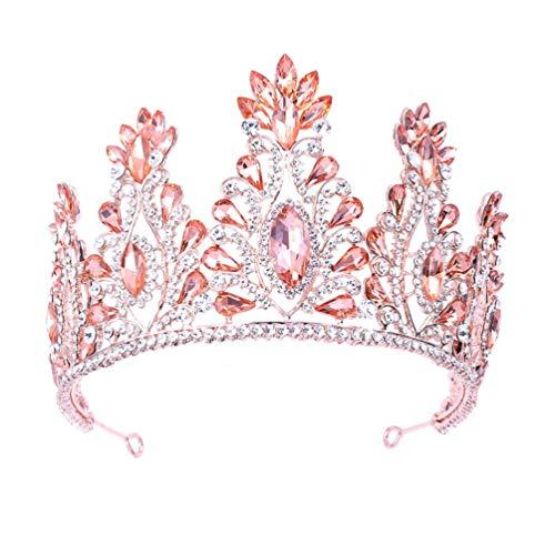 Amosfun - Corona para el pelo de boda con cristales de estrás, accesorios para el pelo, anillos para el pelo de novia, para niñas y mujeres