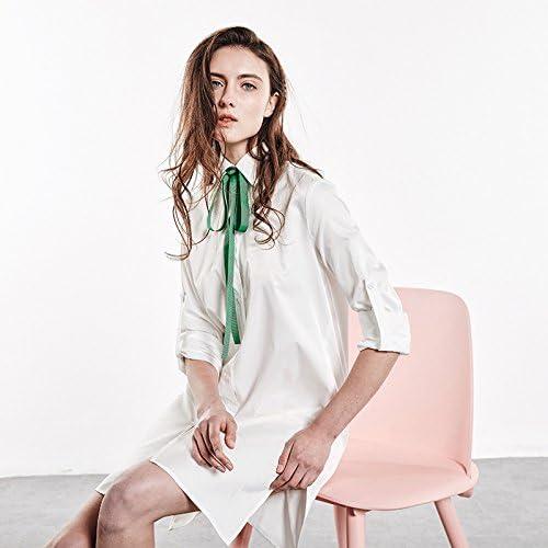 YFF Manches Longues Robe Chemisier lache Bas,Blanc Taille Unique