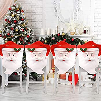AMFOCUS Christmas Chair Covers Slipcovers Set of 4 Mr Santa Claus Hat Christmas Chair Back Covers for Xmas Decoration Home Kitchen Decor  4 pcs