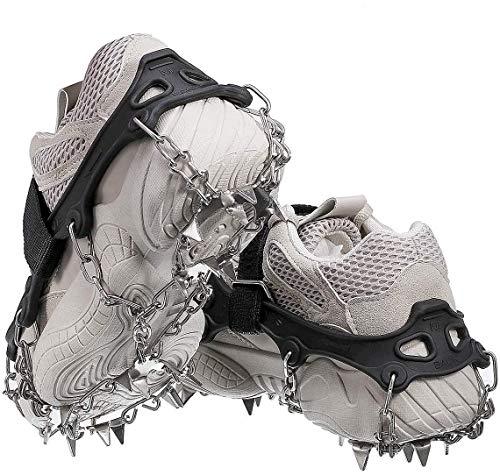 Audew Steigeisen mit 19 Zähne Spikes, Schuhkrallen Schuhspikes Für Bergschuhe, Schuhe, Bodenhaftung Anti Rutsch zum Klettern, Bergsteigen und Wandern, EIS und Schnee Sport für Winter (XL)