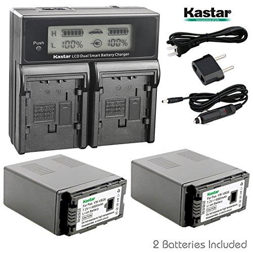 Kastar LCD Dual Smart Fast Charger & 2 x Battery for Panasonic VW-VBG6 VWVBG6 VBG6 Li-Ion Camcorder Battery and Panasonic AG-AC160A, AG-AC7, AG-AC130A, AG-AC160A, AG-HMC40, AG-HMC70, AG-HMC150