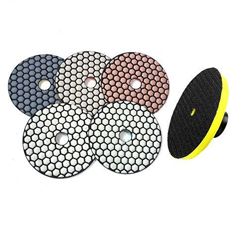 5 piezas + soporte M14 Disco abrasivo de almohadilla de pulido en seco flexible redondo de diamante de calidad superior de 4'para pulido de vidrio de piedra de mármol, 5 piezas No 5