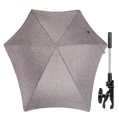 ZJRIGHT Universal Sonnenschirm Sonnenschutz für Kinderwagen & Buggy - UV Schutz 50+ / 71 cm Durchmesser - Biegsamer Schirm mit Universalhalterung für Rund- und Ovalrohre - Grau