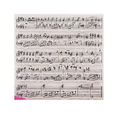 Transparente Hoja de sello de silicona Impresión Scrapbooking Estampado en relieve Sellado transparente para bricolaje Álbum de fotos Álbum de fotos Papel Cuaderno Tarjeta Fabricación Símbolo musical