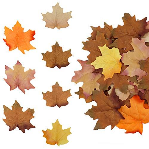 Hojas de Arce Artificiales 48 Piezas, Hojas de otoño de plástico para decoración del hogar, Interiores y Exteriores, Hoja de otoño para decoración de Mesa de Boda de Acción de Gracias, Multicolor