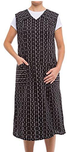Tobeni Tobeni Damen Kittelschürze lang mit Reissverschluss und Taschen ohne Arm 100% Baumwolle Farbe Schwarz-Weiss-Design1 Grösse 42