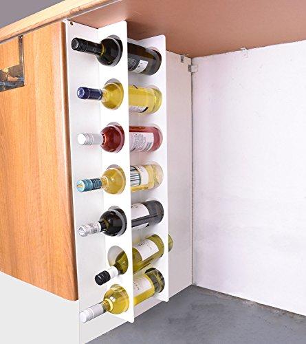 JBI Schmales Weinregal aus Stahl zur Wandmontage, für 7 Flaschen – Weiß