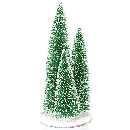 Tabletop Mini Christmas Tree - Tabletop Small Pine Christmas Tree with Artificial Snow - Desktop Xmas Ornament Decoration for Holiday Party Office Home Decor 3 In 1 Christmas Tree (13in+10in+7.5in)