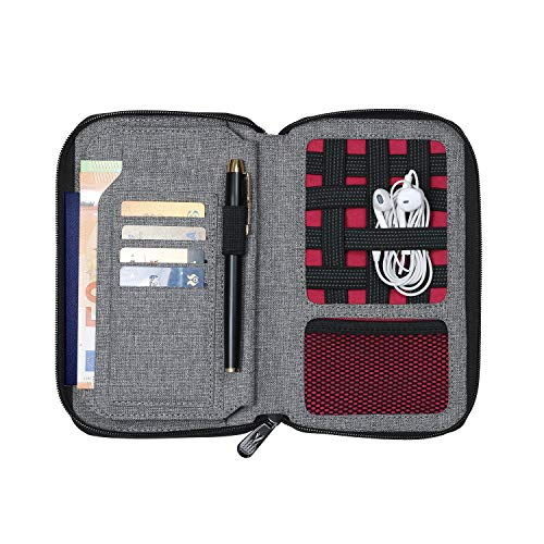 V JOY Passport Holder Cover Rfid Blocking, Waterproof Zipper Pockter Document Wallet, USB Charger/Earphones Earbud Organizer Travel Case,RPET Recycled Material, Environment Protection (V-Grey)