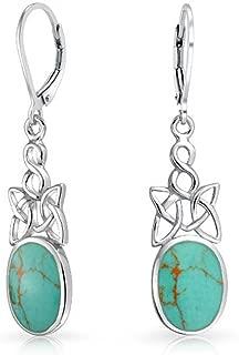 Celtic Irish Love Knot Work Bezel Set Stabilized Turquoise Leverback Dangle Earrings 925 Sterling Silver