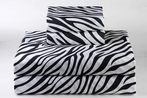 100% Cotton Sheet Zebra Print, Twin Sheets Set - 4-Piece Long-Staple Combed Cotton Best-Bedding Sheets for Bed, Breathable, Soft & Silky Sateen Weave Fits Mattress 16'' Deep Pocket