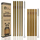 Live Essential Pajitas de Bambu Reutilizables Biodegradables de Diferentes Tamaños y Colores, Set...