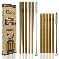 live essential cannucce riutilizzabili in bamboo biodegradabili di diverse dimensioni e colori set 10pz.