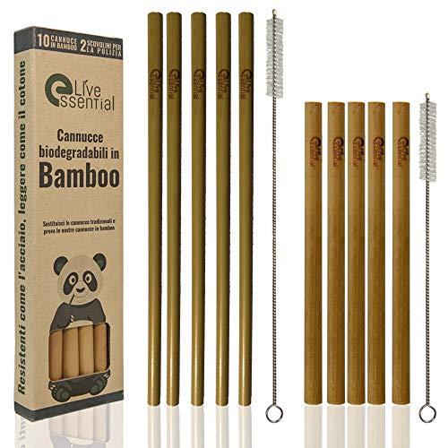 Live Essential Pajitas de Bambu Reutilizables Biodegradables de Diferentes Tamaños y Colores, Set de 10 cañitas. Pajitas Bambu niños.