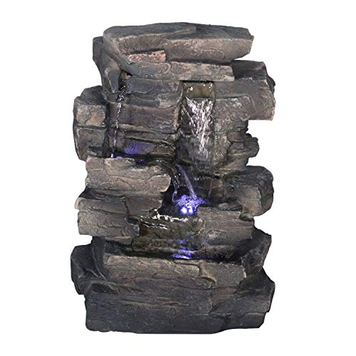 Alpine WIN220 Waterfall Tabletop Fountain with White LED Light, Grey, 13 Inch Tall