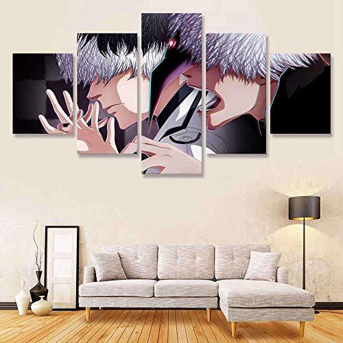 YBYBYB 5 pinturas de arte de parede em tela, arte grande, sem moldura, impressão de arte de parede, imagem 5 Tokyo Ghoul RE Haise Sasaki Vs Ken Kaneki módulo de pintura pôster sala de estar DDZZYY
