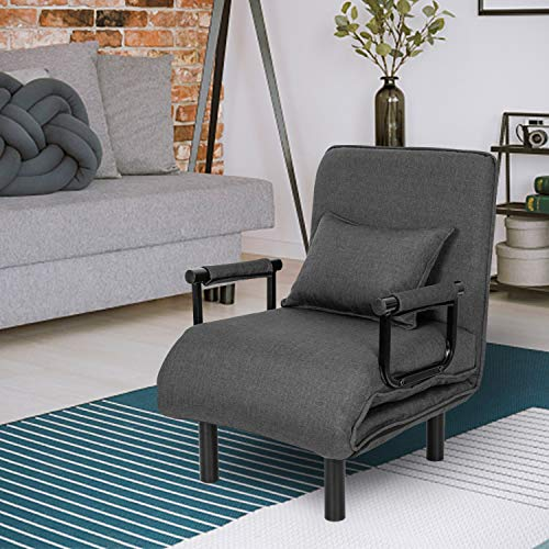 Convertible Sofa Chair Bed Folding Sofa Sleeper with Pillow 5 Position Single Chaise Lounger Couch Recliner Armchair for Home Office,Grey