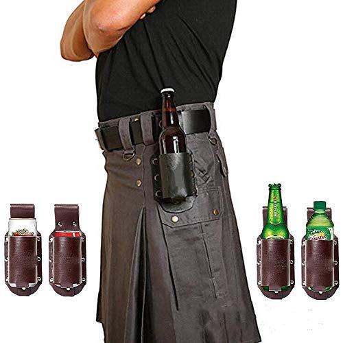 IUTOYYE Bier Holster Belt Bierhalter PU-Leder Flaschenhalter Dosenhalter Gürtelhalter für Party Wandern Camping Picknick 1 Steckenplatz (Schwarz)