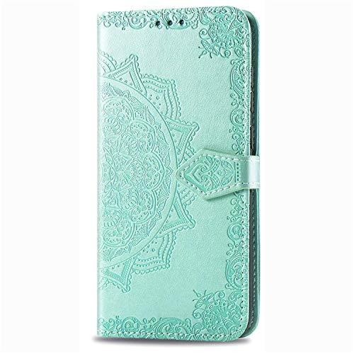 iPhone 12 Mini Klapphülle Mandala Grün, iPhone 12 Mini Hülle Klappbar Muster, Handyhülle Magnetisch Klappbar für iPhone 12 Mini 5.4 Zoll Mädchen
