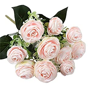 Silk Flower Arrangements Artificial and Dried Flower 5 Forks 15 Flowers Camellia Rose Living Room Decoration Artificial Flower Artificial Flower Silk Flower Bouquet Rose Red 7