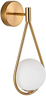 Mopoq Personality Creative Spherical Frosted Glass Wall Lamp, Nordic Minimalist Modern Brushed Gold Finish Wall Hanging La...