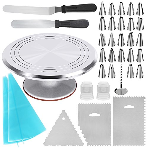 Kootek 35-in-1 Cake Decorating Supplies with Aluminium Alloy Revolving Cake Turntable, 24 Cake Decorating Tips, 2 Icing Spatula, 3 Icing Comb, 2 Reusable Pastry Bags, 2 Couplers and 1 Flower Nail