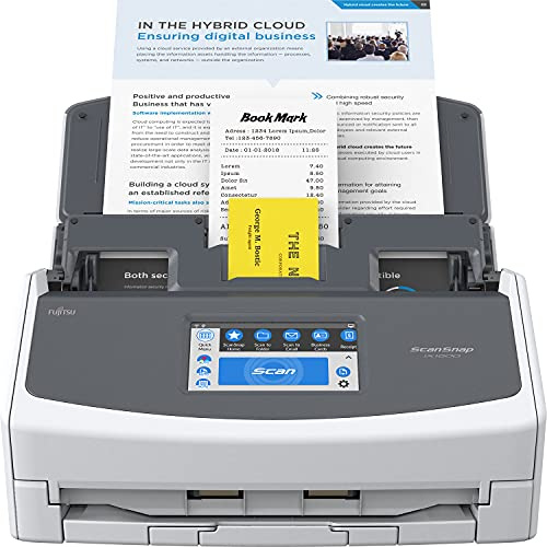 Fujitsu ScanSnap iX1600 Deluxe Versatile Cloud Enabled Document Scanner with Adobe Acrobat Pro DC for Mac or PC, White