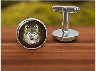 Gemelos con diseño de lobo de la familia «We are Forever Family Wolf», gemelos personalizados de boda, gemelos de novio, g...