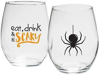 Kate Aspen MC30023NA-SCRY Halloween 15 oz. Stemless (Set of 2) Wine Glasses, One Size, Black, Orange