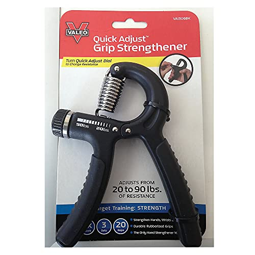 Valeo Quick Adjust Grip Strengthener with Durable Rubberized Grips to Strengthen Hands and Wrists, VA1306BK