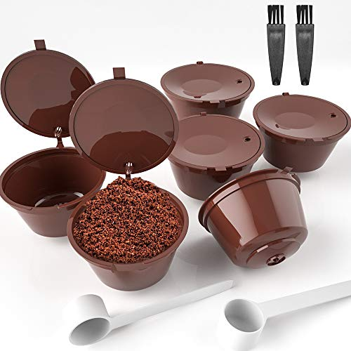 ZesNice 6 Stück Ersatz Kapsel Nachfüllbare Kapseln Wiederverwendbare Kaffee- Kapsel Kaffeekapseln für Dolce Gusto mit 2 Kaffeelöffel und 2 Bürste (10 Stück)