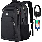 Travel Laptop Backpack with USB Charging&Headphone Port,Anti-Theft Business Laptop Backpack with Breathable Padded