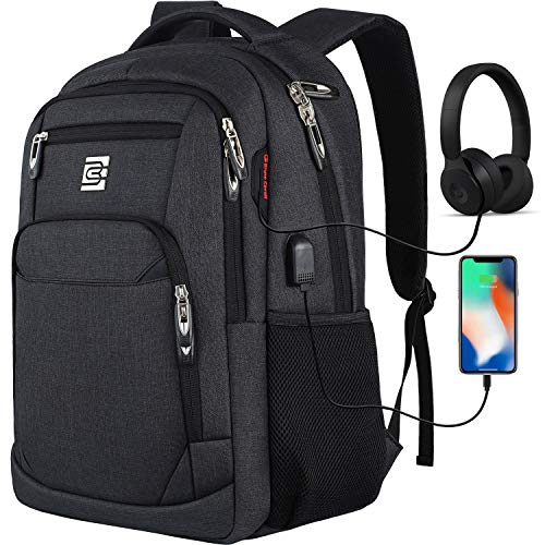 Travel Laptop Backpack with USB Charging&Headphone Port,Anti-Theft Business Laptop Backpack with Breathable Padded Shoulder Strap, Water Resistant 15.6'' Computer Rucksack for School/Work/Travel