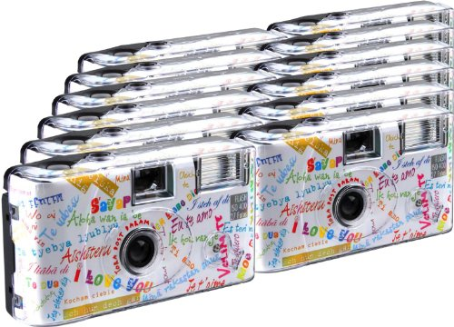 TopShot I mog di weiss Einwegkamera / Hochzeitskamera (27 Fotos, Blitz, 12-er Pack)
