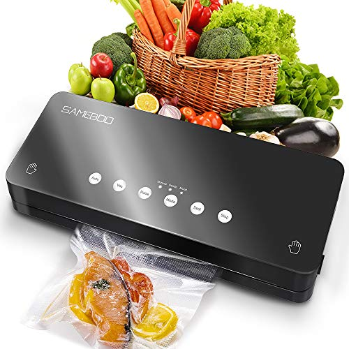SAMEBOO Vakuumierer,Folienschweißgerät für Trockene Feuchte Lebensmittel Beiben Mini Automatische Vakuumiergerät vakuumiert bis zu 8.5x Länger Frisch Küche mit 10 Pcs Folienbeutel/Vakuumierbeutel